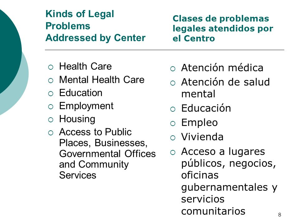 Kinds of Legal Problems Addressed by Center