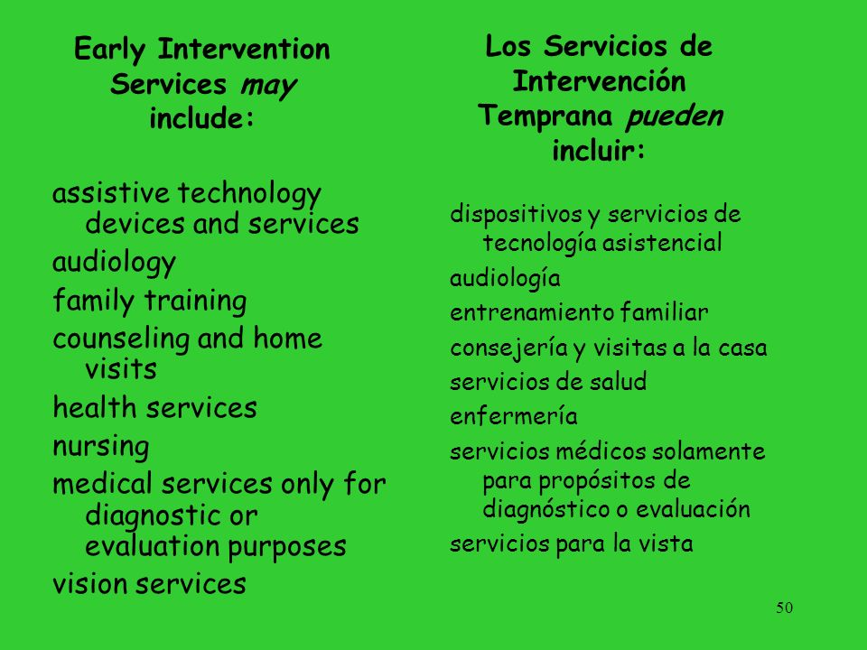 Early Intervention Services may include: