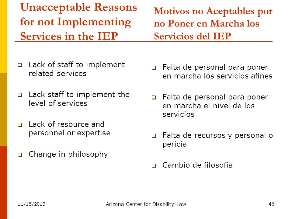 Unacceptable Reasons for not Implementing Services in the IEP