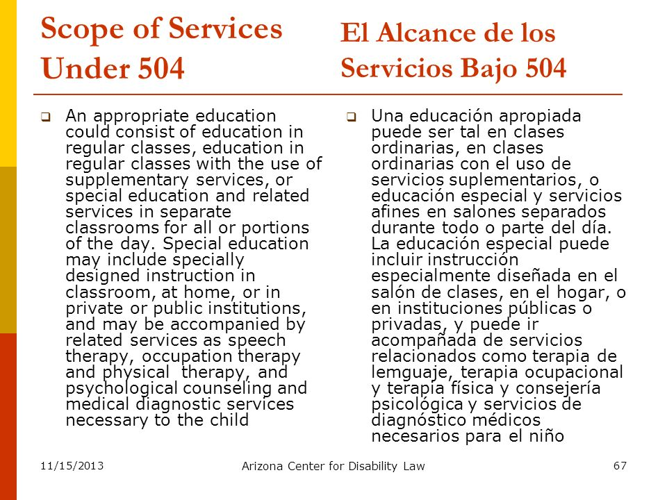 Scope of Services Under 504