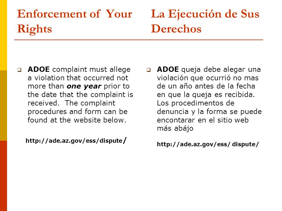 Enforcement of Your Rights