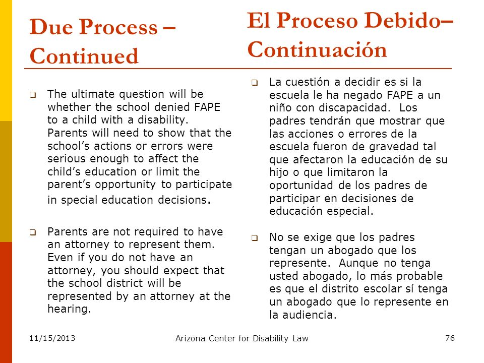 Due Process – Continued