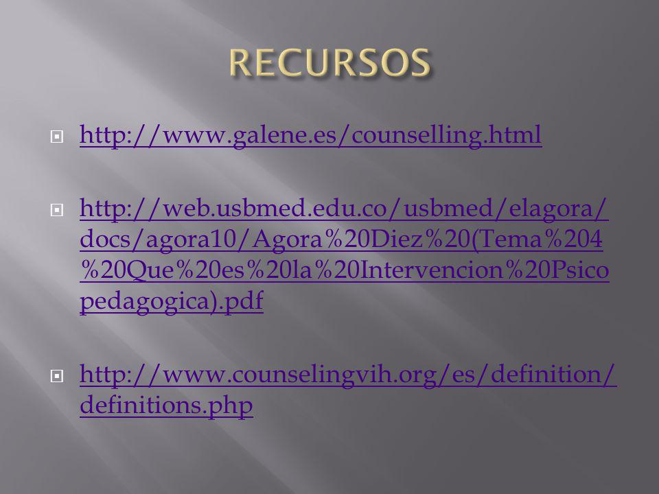 RECURSOS http://www.galene.es/counselling.html