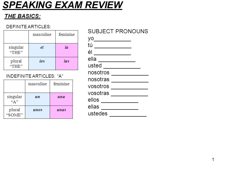 SPEAKING EXAM REVIEW THE BASICS: SUBJECT PRONOUNS yo____________