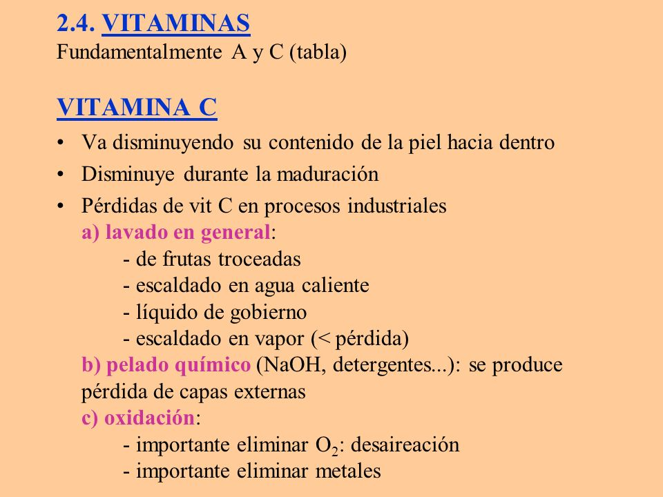 2.4. VITAMINAS Fundamentalmente A y C (tabla) VITAMINA C