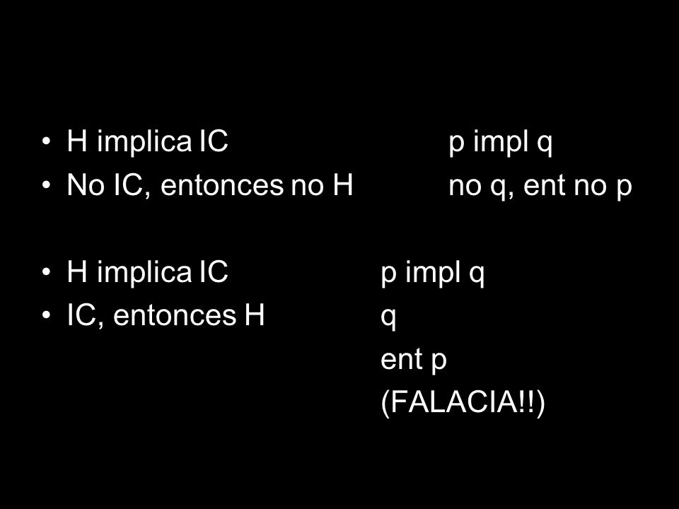 H implica IC p impl q No IC, entonces no H no q, ent no p. H implica IC p impl q. IC, entonces H q.