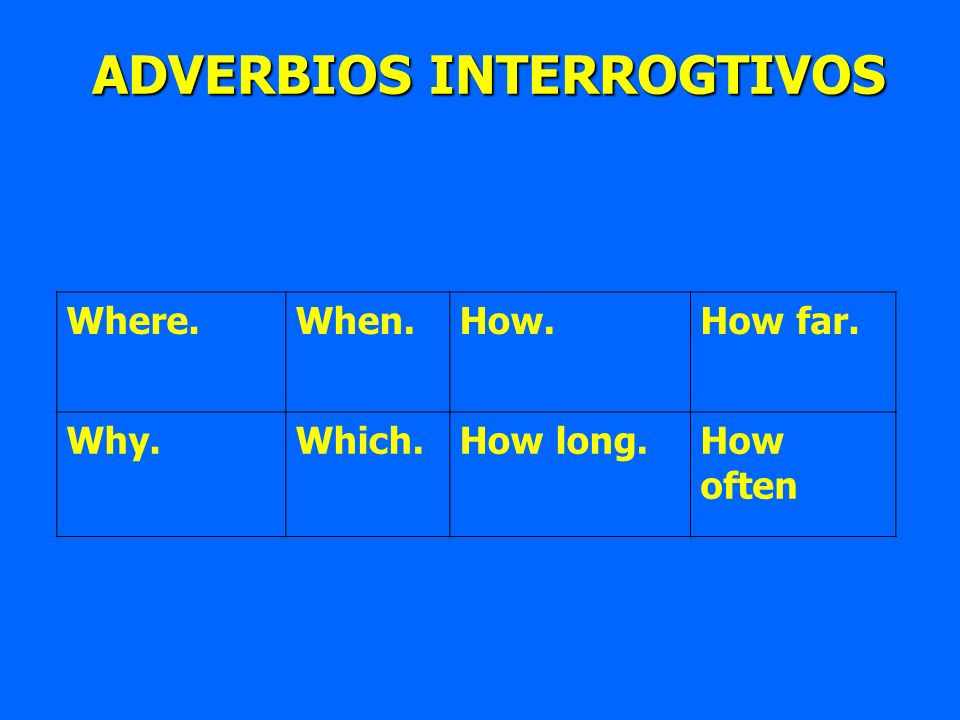 ADVERBIOS INTERROGTIVOS