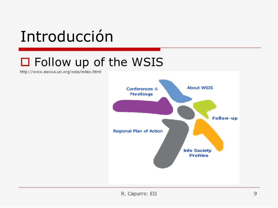 Introducción Follow up of the WSIS R. Capurro: EII