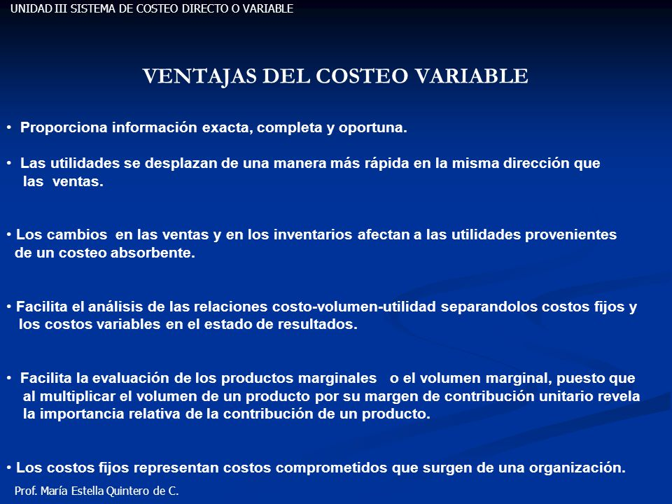VENTAJAS DEL COSTEO VARIABLE