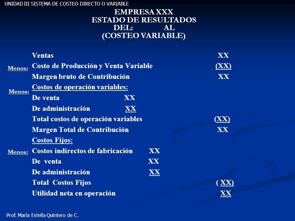 EMPRESA XXX ESTADO DE RESULTADOS DEL: AL (COSTEO VARIABLE)