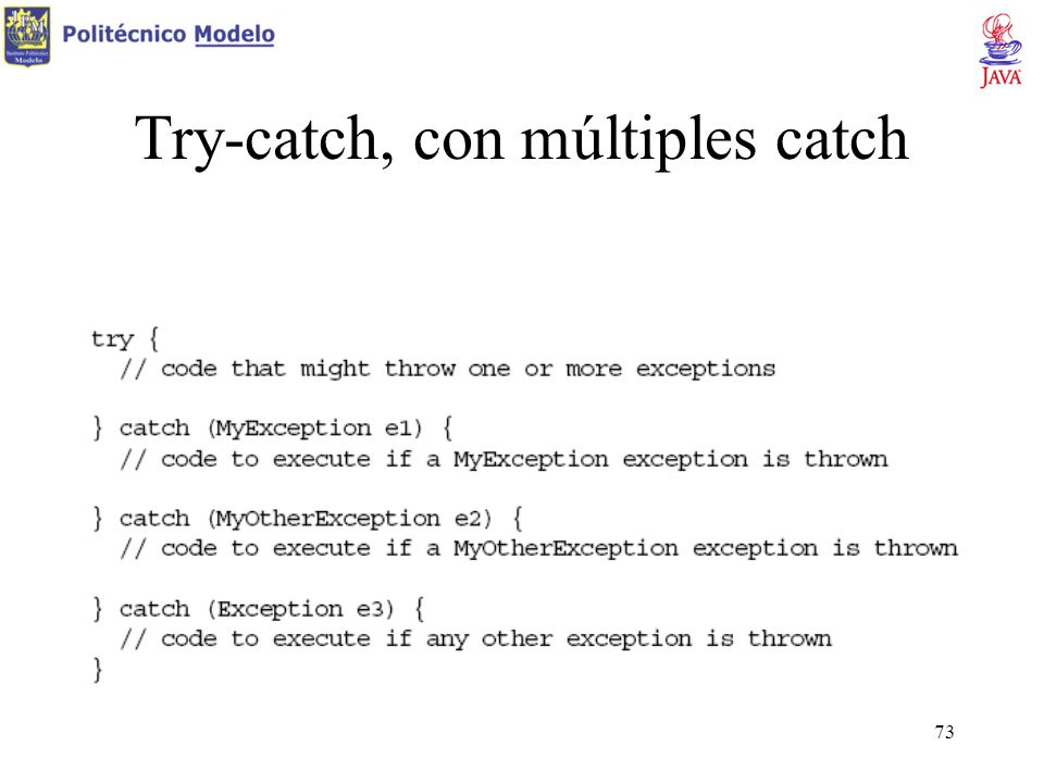 Try-catch, con múltiples catch