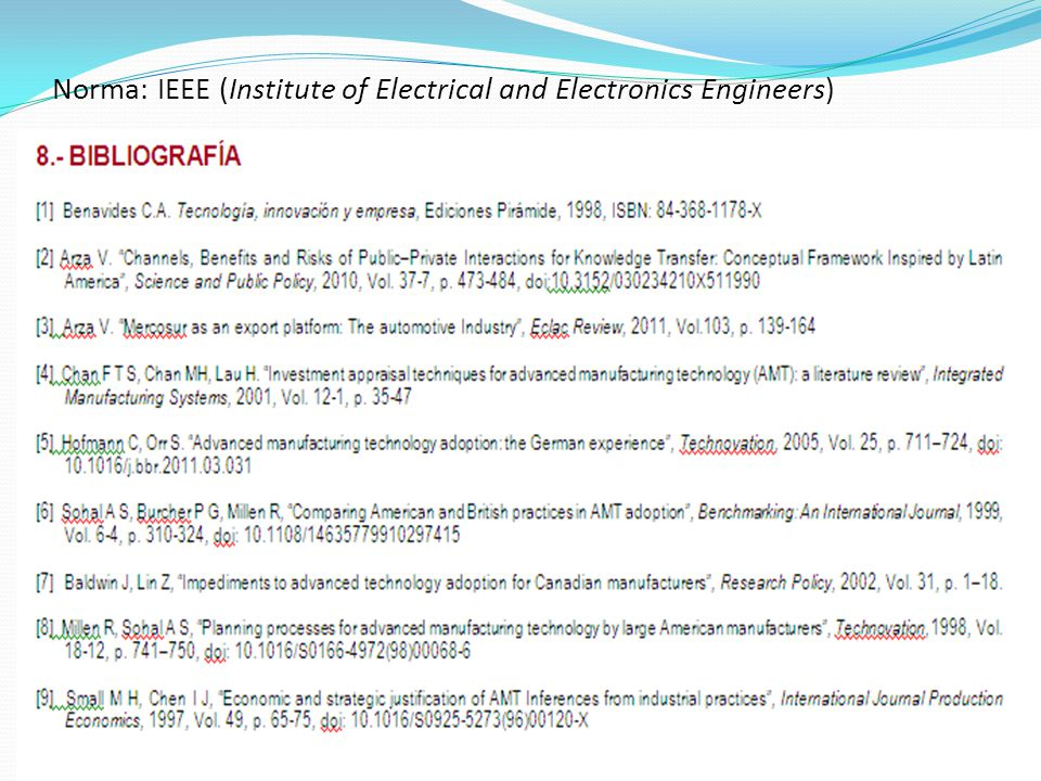 Norma: IEEE (Institute of Electrical and Electronics Engineers)