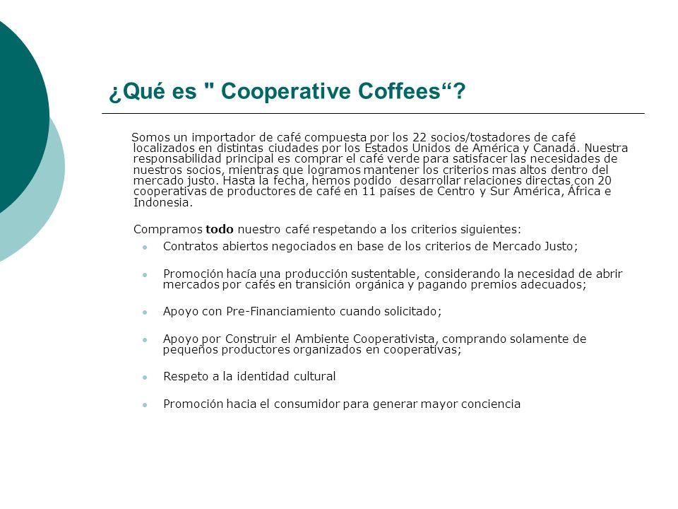 ¿Qué es Cooperative Coffees