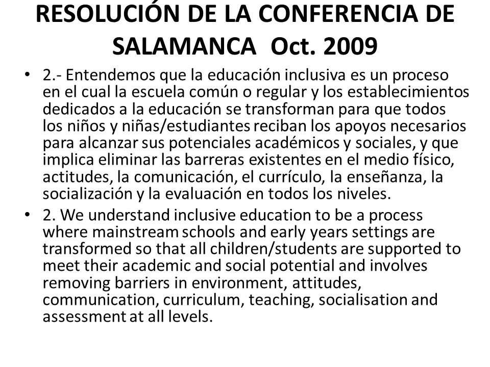 RESOLUCIÓN DE LA CONFERENCIA DE SALAMANCA Oct. 2009