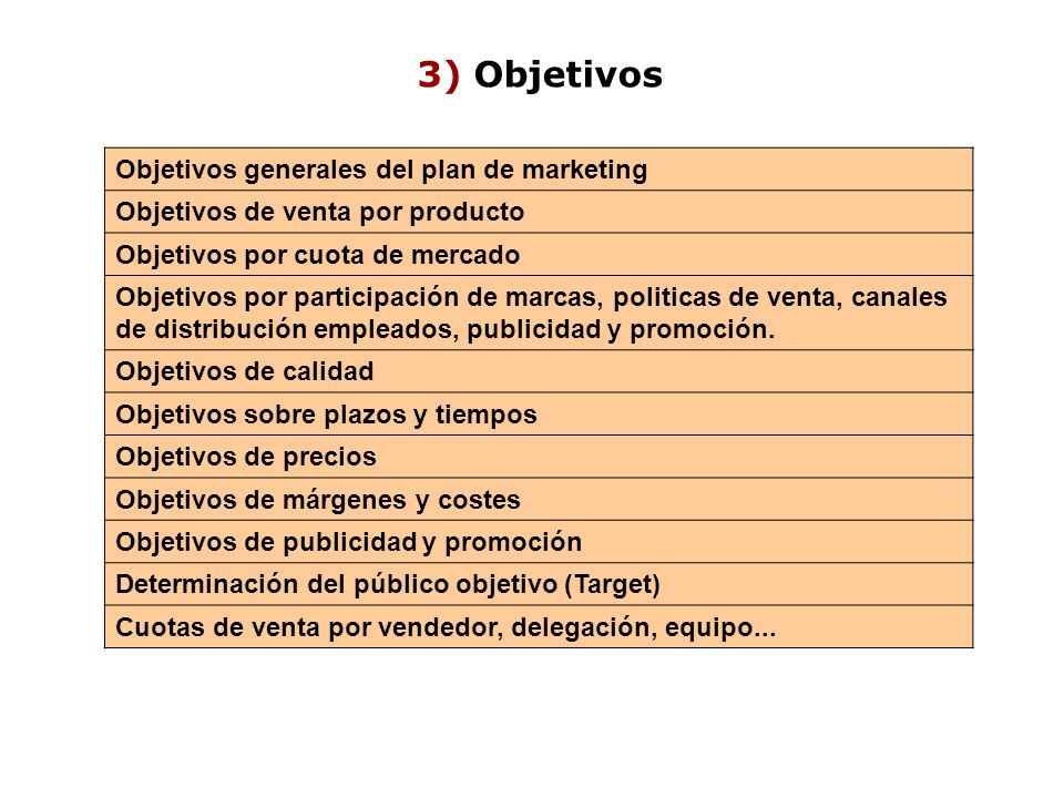 3) Objetivos Objetivos generales del plan de marketing