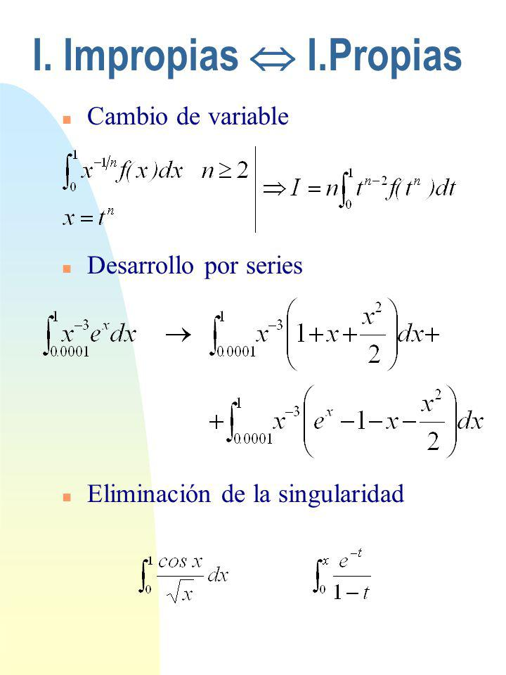 I. Impropias  I.Propias Cambio de variable Desarrollo por series