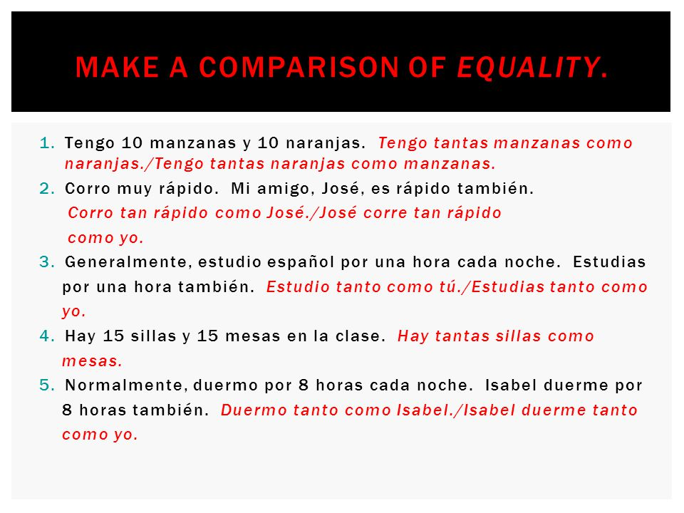 Make a comparison of equality.