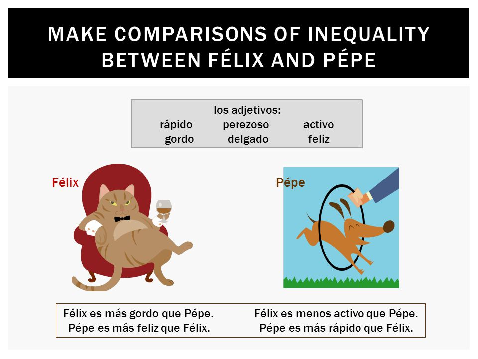 Make comparisons of inequality between félix and Pépe