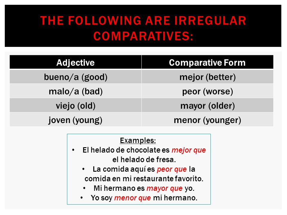 The following are irregular comparatives: