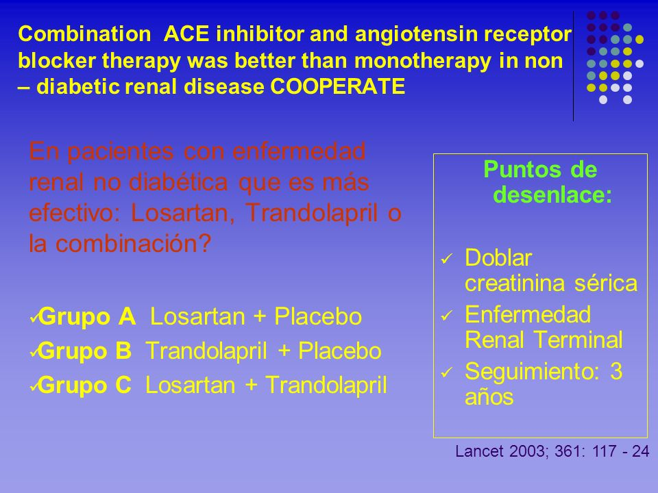 Combination ACE inhibitor and angiotensin receptor blocker therapy was better than monotherapy in non – diabetic renal disease COOPERATE