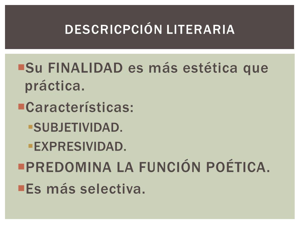 DESCRICPCIÓN LITERARIA