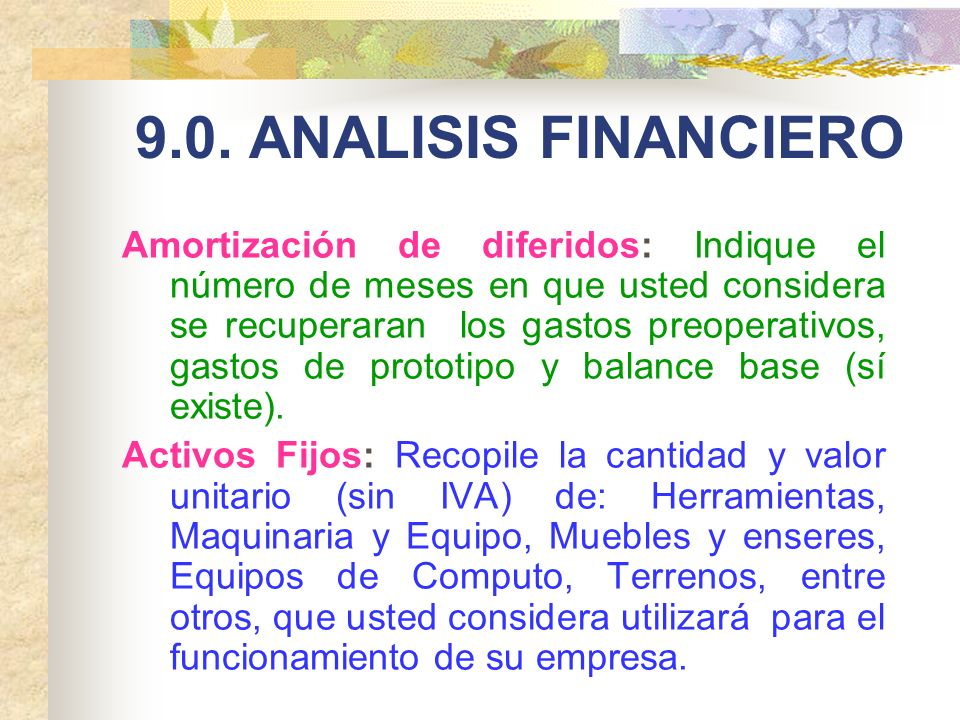 9.0. ANALISIS FINANCIERO