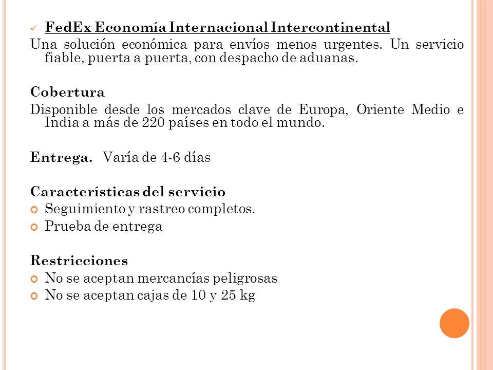 FedEx Economía Internacional Intercontinental