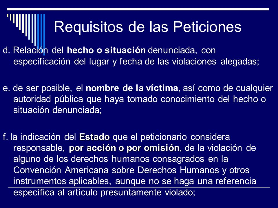 Requisitos de las Peticiones
