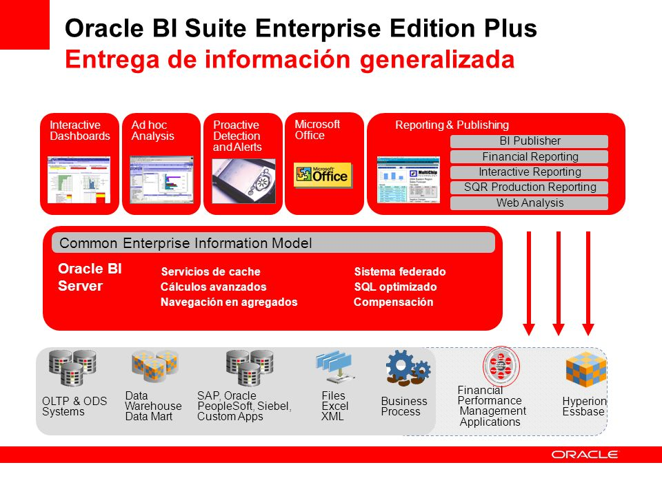 Oracle BI Suite Enterprise Edition Plus Entrega de información generalizada