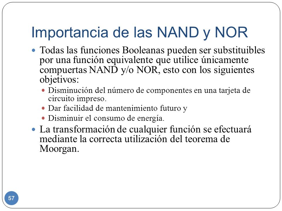 Importancia de las NAND y NOR