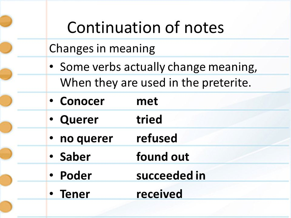 Continuation of notes Changes in meaning