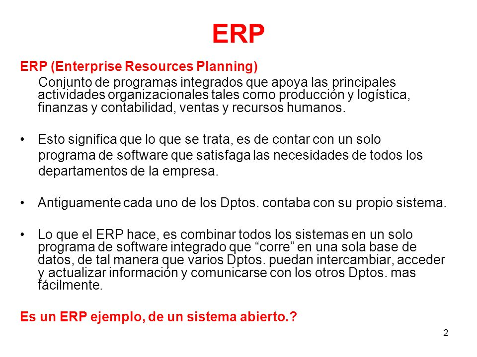 ERP ERP (Enterprise Resources Planning)