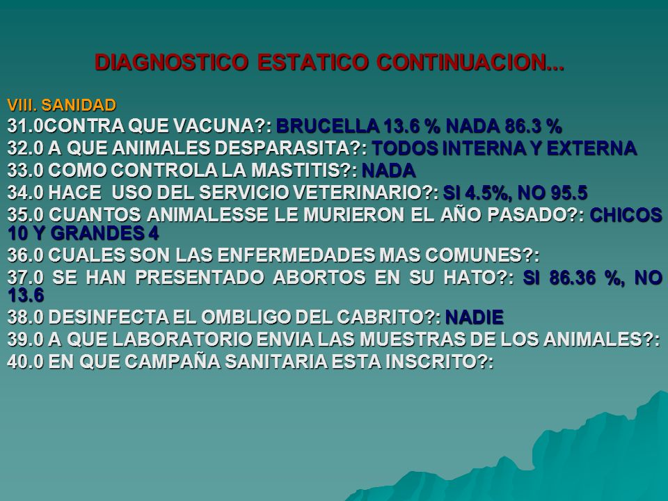 DIAGNOSTICO ESTATICO CONTINUACION...