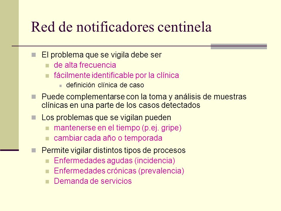 Red de notificadores centinela