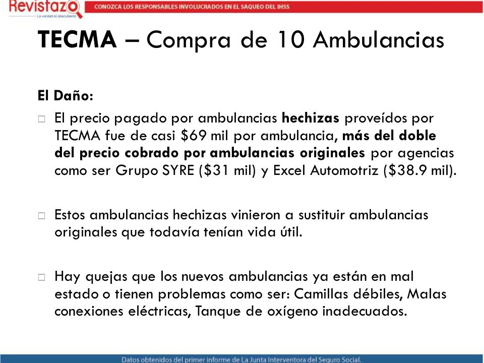 TECMA – Compra de 10 Ambulancias