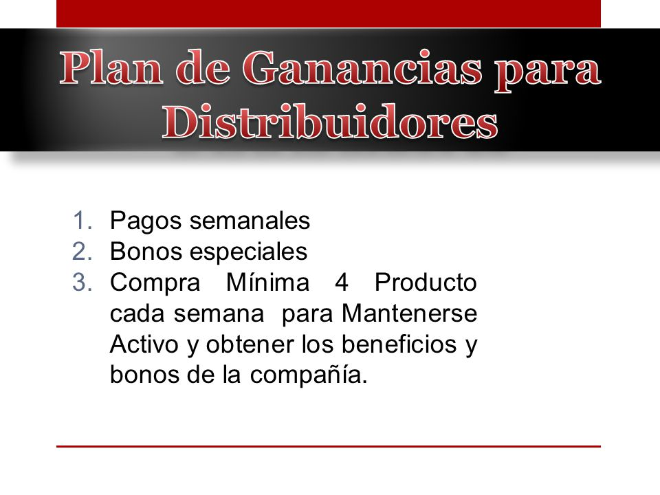 Plan de Ganancias para Distribuidores