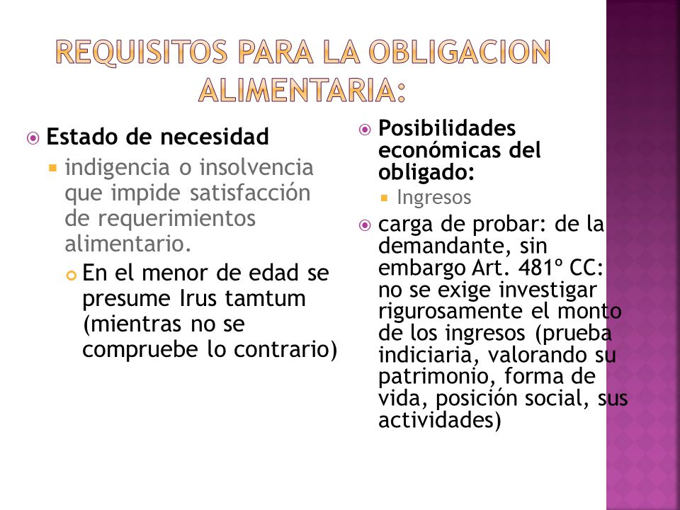 REQUISITOS PARA LA OBLIGACION ALIMENTARIA: