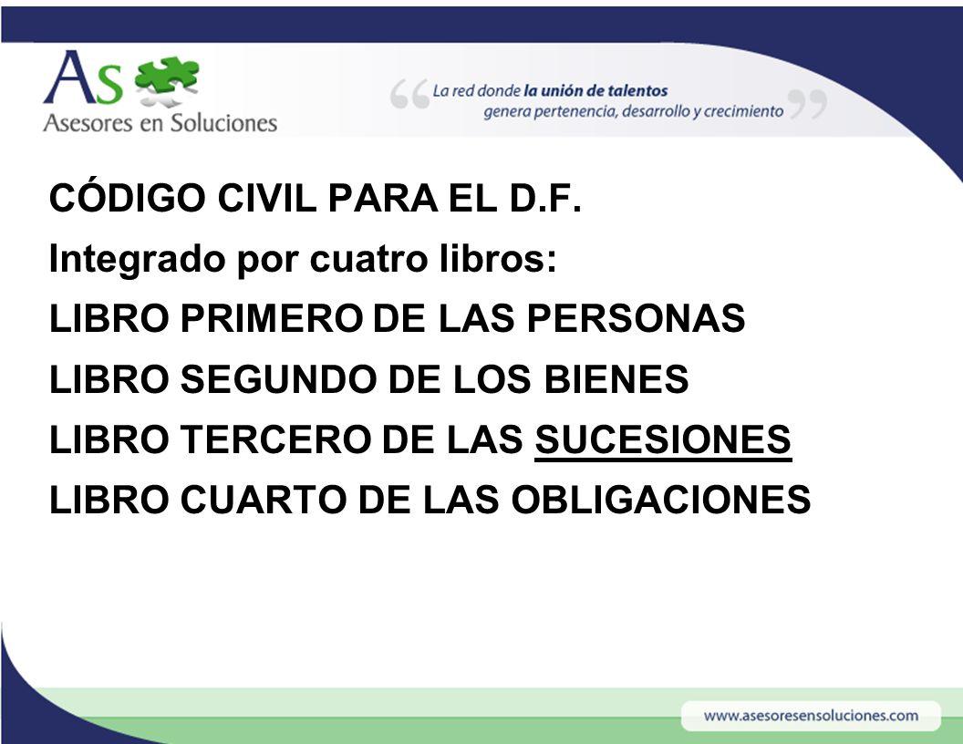 CÓDIGO CIVIL PARA EL D.F. Integrado por cuatro libros: LIBRO PRIMERO ...