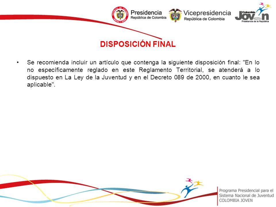 DISPOSICIÓN FINAL