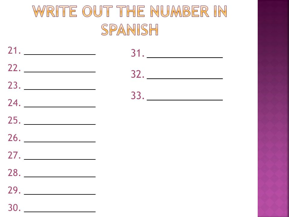 Write out the number in Spanish