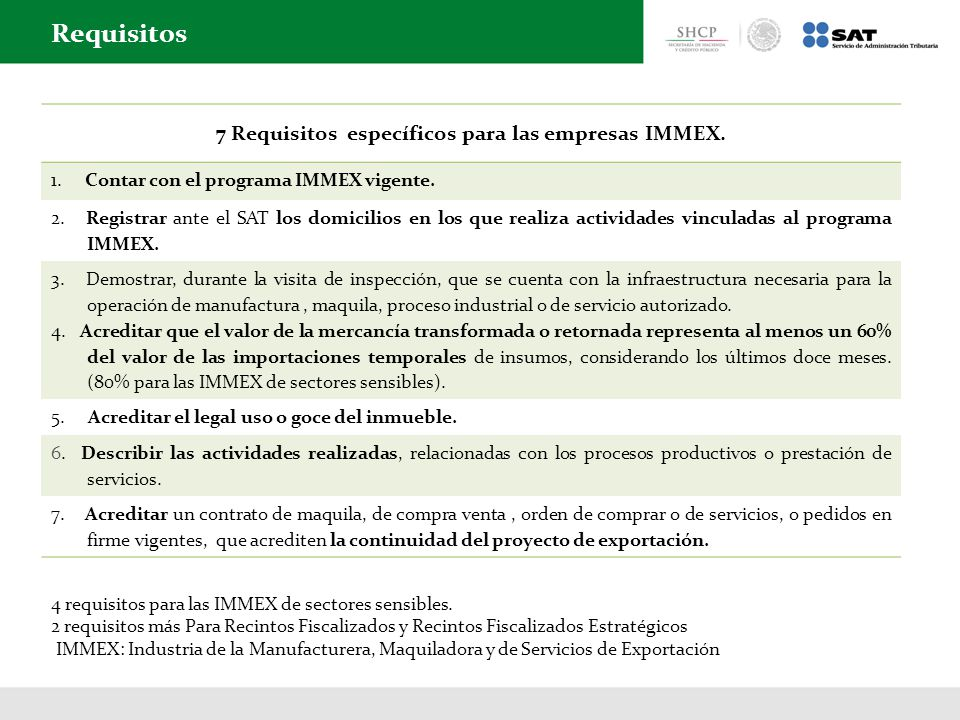 7 Requisitos específicos para las empresas IMMEX.