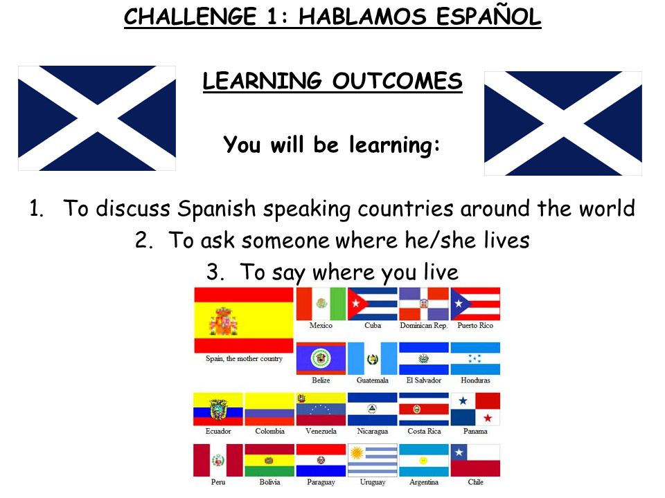 CHALLENGE 1: HABLAMOS ESPAÑOL LEARNING OUTCOMES You will be learning: