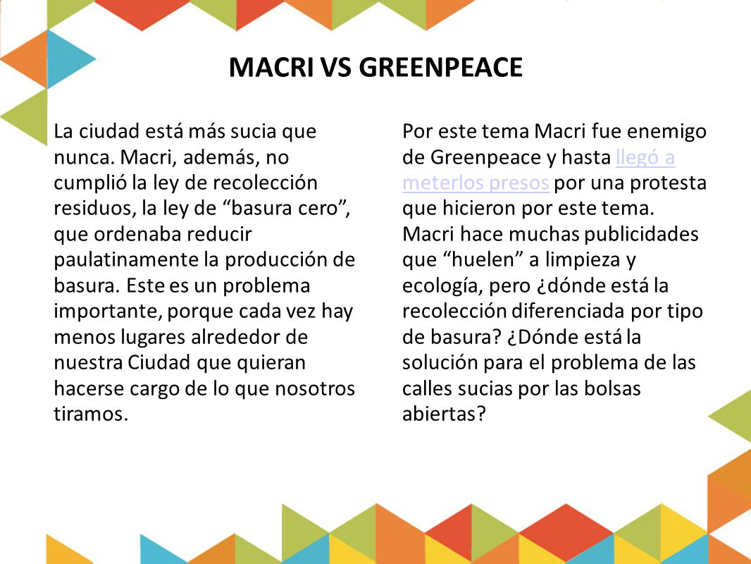 MACRI VS GREENPEACE