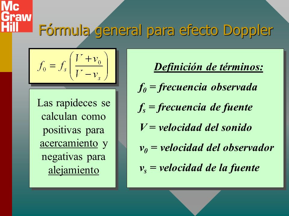 Fórmula general para efecto Doppler