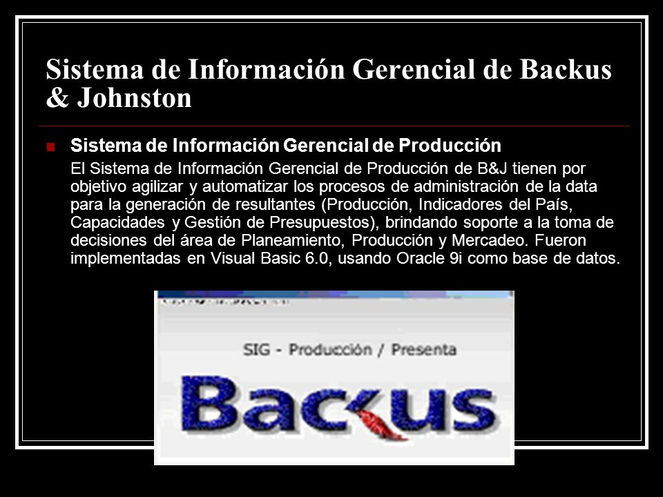 Sistema de Información Gerencial de Backus & Johnston