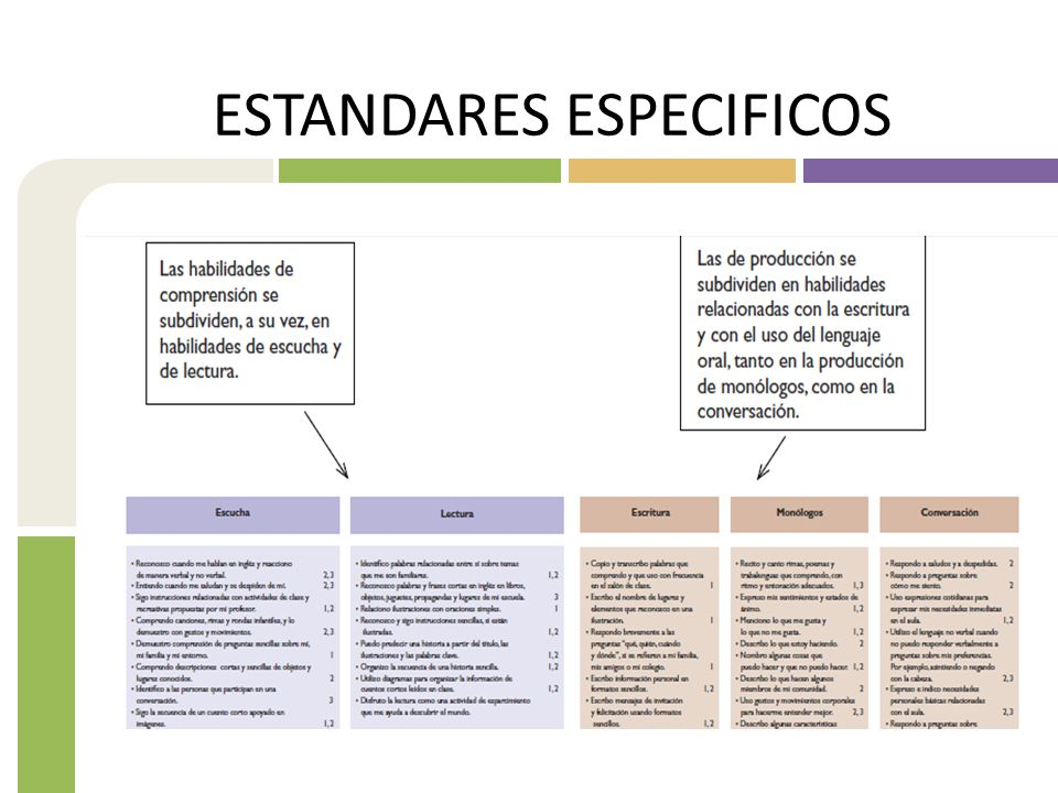ESTANDARES ESPECIFICOS