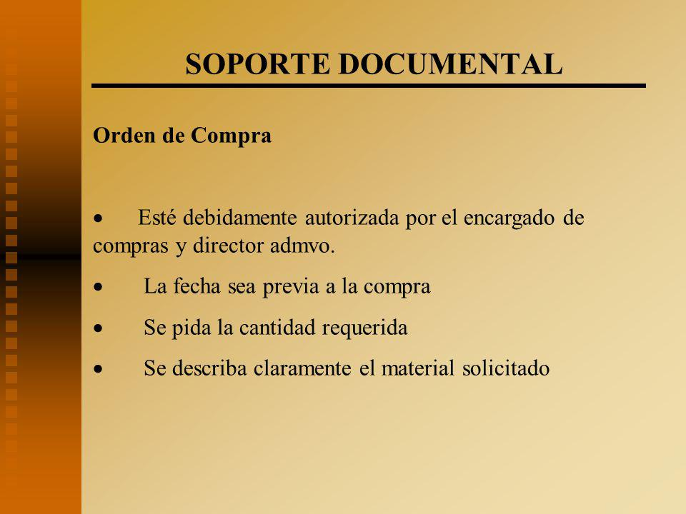 SOPORTE DOCUMENTAL Orden de Compra