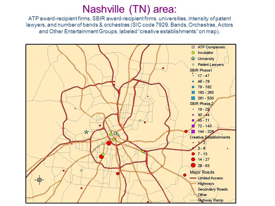 Nashville (TN) area: ATP award-recipient firms, SBIR award-recipient firms, universities, intensity of patent lawyers, and number of bands & orchestras (SIC code 7929, Bands, Orchestras, Actors and Other Entertainment Groups, labeled creative establishments on map).