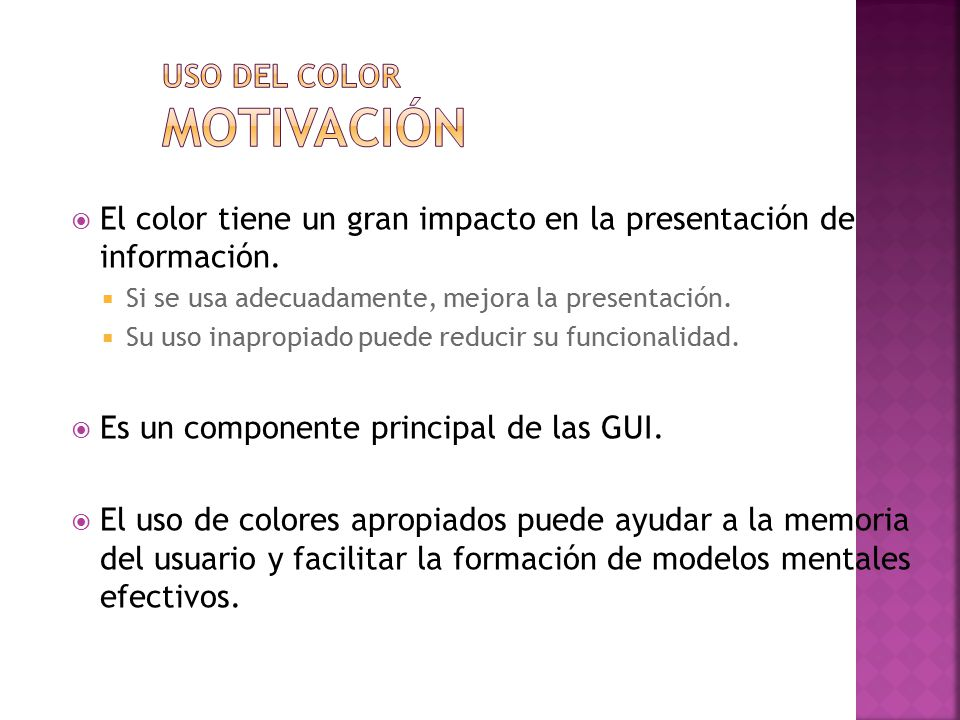 Uso del color Motivación