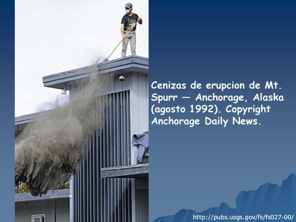 Cenizas de erupcion de Mt. Spurr — Anchorage, Alaska (agosto 1992)